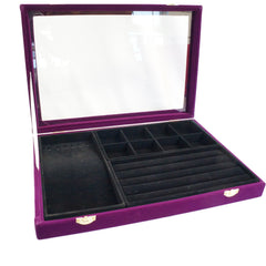 Purple Velvet Glass Top Jewelry Display 3in1 Multi-purpose Storage Showcase Box