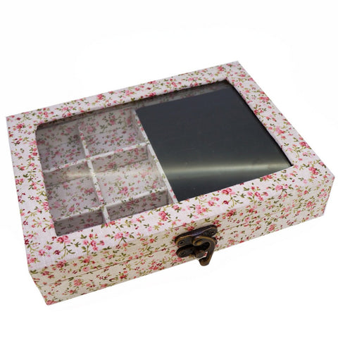 Fabric Floral Pattern Glass Top Lid Jewelry Display Box
