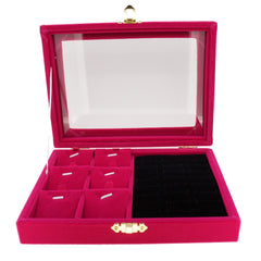 Fuchsia Velvet Jewelry Display Glass Top Lid Box for Rings Cuffs Charms Pendants, 20x15x4.5cm