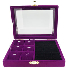 Purple Velvet Jewelry Display Glass Top Lid Box for Rings Cuffs Charms Pendants, 20x15x4.5cm