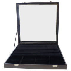 Large Black Glass Top Lid 7 Rows for Rings Cufflinks and 8 Comparments Jewelry Display Box, 35x35x4.5cm