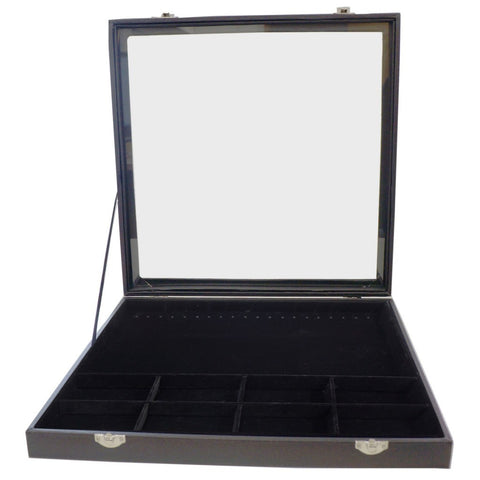 Large Black Glass Top Lid 20 Hooks and 8 Compartments Jewelry Display Box for Bracelets Necklaces, 35x35x4.5cm
