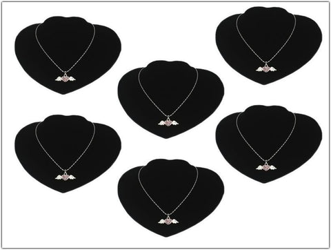 Black Velvet Heart Bust Display Stand for Necklace Pendant, Pack of 6