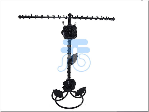 Black Metal Flower Decoration Jewelry Display Stand for Bracelet Necklace, 32 Hook