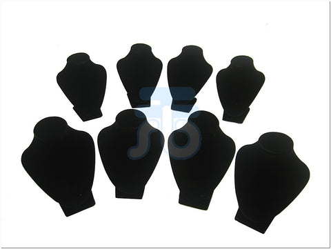 Black Velvet Small Bust Display Stand for Necklace Pendant, Pack of 8