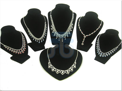 Black Velvet Bust Display Stand for Necklace Pendant, Pack of 6