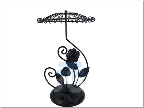 Black Metal Flower Decoration Jewelry Display Stand for Bracelet Necklace