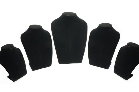 Big Black Velvet Necklace Jewelry Bust Display Stand Set of 5