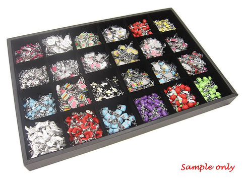 24 Compartment Jewelry Display Case / Tray, Black Color