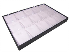 White Faux Leatherette Jewelry Display Case for Pendants Charms Earrings