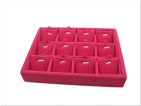 Fuchsia Velvet Liner Protable Jewelry Ring Display Case Tray for Pendant Charm