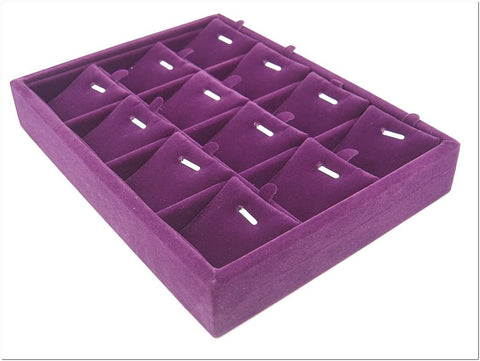 Purple Velvet Liner Protable Jewelry Ring Display Case Tray for Pendant Charm