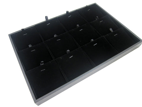 12 Compartment w Black Velvet Pads Protable Jewelry Utility Display Case / Tray