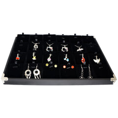 Black Jewelry Pendant & Charm Display Case with Silver Decorative Corner, 35x24cm, 24 Compartments