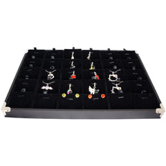 Black Jewelry Pendant & Charm Display Case with Silver Decorative Corner, 35x24cm, 30 Compartments