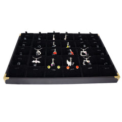 Black Jewelry Pendant & Charm Display Case with Golden Decorative Corner, 35x24cm, 30 Compartments