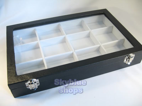 Glass Top Lid White Faux Leatherette Jewelry Display Box, 12 Compartments