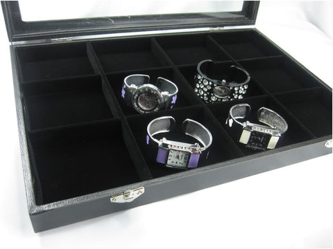 12 Compartment Jewelry Display Glass Top Box, Black Color