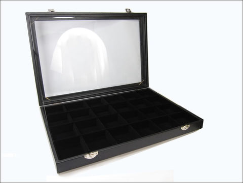 24 Compartment Jewelry Display Glass Top Box, Black Color