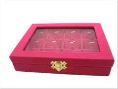 Pendant Charm Compartment Fuchsia Velvet Liner Protable Jewelry Glass Top Display Box
