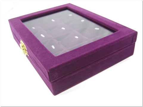 Pendant Charm Compartment Purple Velvet Liner Protable Jewelry Glass Top Display Box