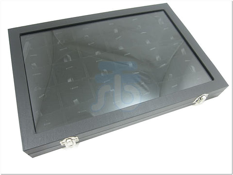 30 Compartment w Black Velvet Pads Protable Jewelry Glass Top Display Box