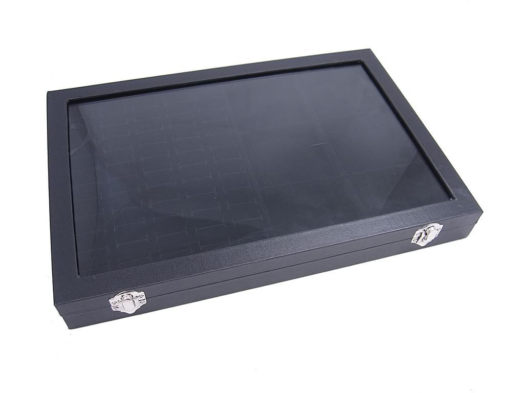 Countertop Protable Glass Top Jewelry Display Box 60 Ring Cuff