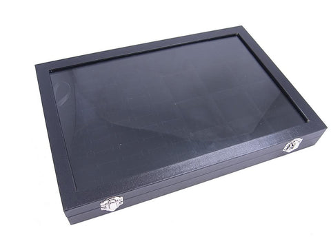 Countertop Protable Glass Top Lid Jewelry Display Box - 60 Ring / Cuff Slots + 12 Pendant Pads