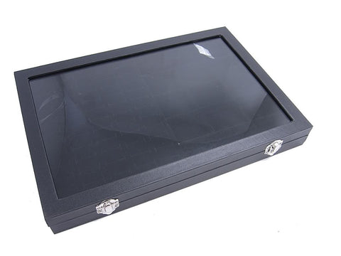 Countertop Protable Glass Top Jewelry Display Box - 60 Ring / Cuff Slots + 15 Pendant Pads