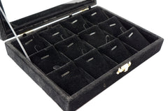 Black Velvet Jewerly Glass Top Lid Pendtant Earring Display Box Case Showcase