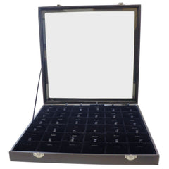 Large Black Glass Top Lid Jewelry Display Box with 36 Bracelet Necklace Pendant Charm Pad, 35x35x4.5cm