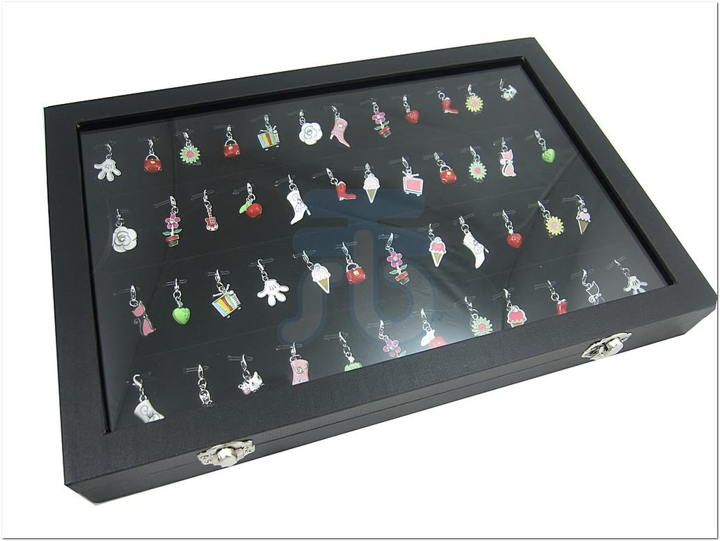Glass Top Lid Black Velvet Jewelry Display Box for Pendants Charms