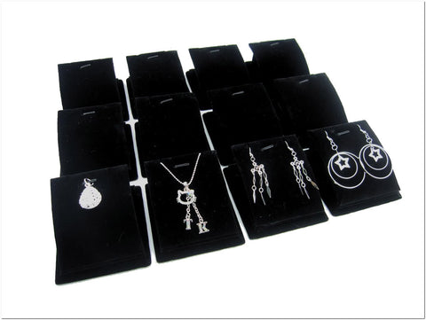 Black Velvet Jewelry Display Stand for Pendants Charms Earrings, Pack of 12