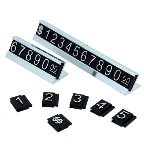 Silver Number Letter and Base Adjustable Price Display Counter Stand