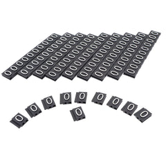Silver Letter on Black Price Display Tag Label Supplement - 0 Zero, 100 pcs