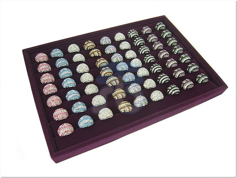 Purple Velvet Jewelry Display Case for Ring Cuff Link Cufflinks
