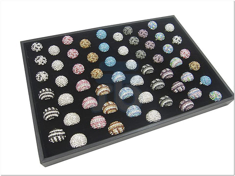Black Velvet 120 slots Jewelry Display Case for Ring Cuff Link Cufflinks