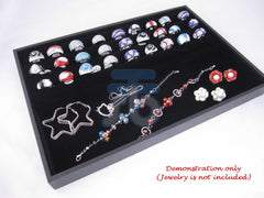 Black Velvet 3 Continuous-slot Jewelry Display Case for Ring Cuff Link Cufflinks