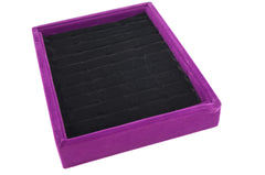Purple / Black Velvet 40 Slots Ring Cuff Jewerly Display Case Tray  20x15x3cm