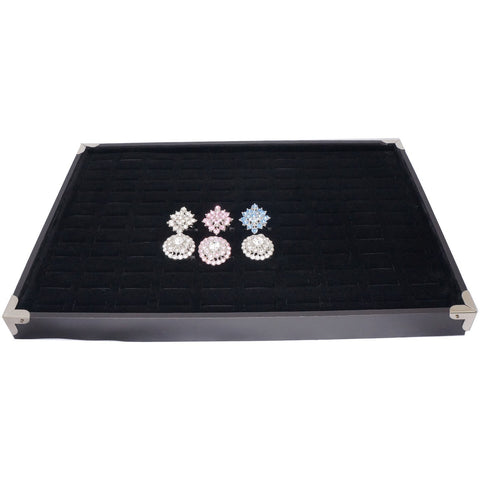 Black Jewelry Ring Display Case with Silver Decorative Corner, 35x24cm, 120 Slots, for Storage