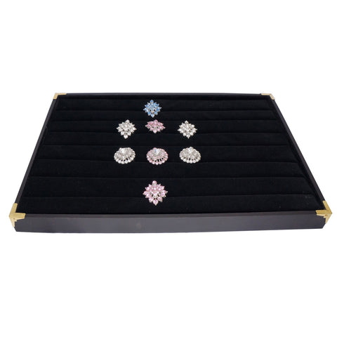Black Jewelry Ring Display Case with Golden Decorative Corner, 35x24cm, for Retail Shop Presentation