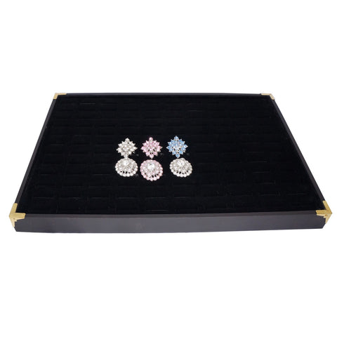 Black Jewelry Ring Display Case with Golden Decorative Corner, 35x24cm, 120 Slots, for Storage