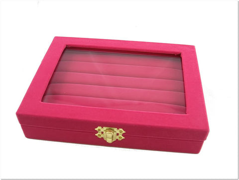 Fuchsia Velvet Liner Protable Jewelry Ring Glass Top Display Box
