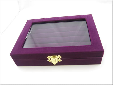 Purple Velvet Liner Protable Jewelry Ring Glass Top Display Box