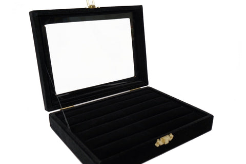 Black Velvet Jewerly Glass Top Lid Rings Cuffs Display Travel Box Case Showcase