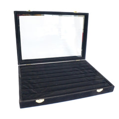 Black Velvet Glass Top Lid Jewelry Rings Cufflinks Display Storage Box, 35x24cm
