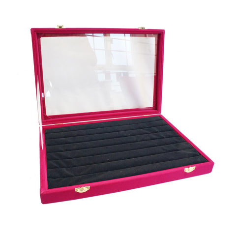 Fuchsia Velvet Glass Top Lid Jewelry Ring Cufflinks Display Storage Box, 35x24cm