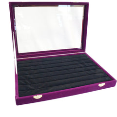Purple Velvet Glass Top Lid Jewelry Rings Cufflinks Display Storage Box, 35x24cm
