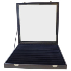 Large Black Glass Top Lid 11 Rows for Rings Cufflinks Jewelry Display Box, 35x35x4.5cm