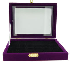Purple Velvet Glass Top Lid Jewelry Display Box Showcase for Ring Cuff, 48 Slots, 20x15x4.5cm